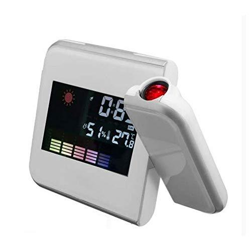 BYNR Kids projectie alarmklok, draadloos weerstation, met digitale draadloze temperatuur en vochtigheid monitor met weersvoorspelling, datum/tijd scherm, achtergrondverlichting