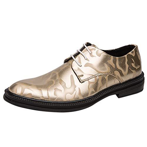 FNKDOR Schuhe Herren Lackleder Gelee Derby Lederschuhe Businessschuhe Berufsschuhe Bankett Hochzeit Schnürung Elegante Anzugsschuhe Gold 37 EU