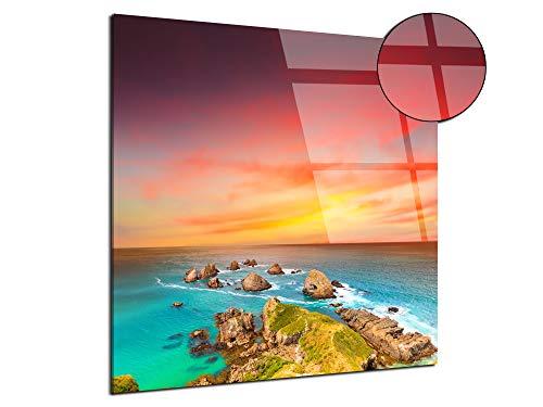 Declina fotolijst, plexiglas, opdruk op acrylglas, landschapsfoto, foto op plexiglas, landschap van Nieuw-Zeeland, 30 x 30 cm 30x30 cm Meerkleurig