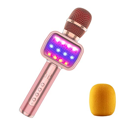 2019 Upgraded Bluetooth Karaoke Microphone for Kids, Wireless Pop Speaker Echo MIC with Dynamic LED Light for Home/Stage/Party