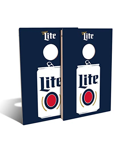 Slick WoodyS Miller Lite Flat can Cornhole Set with 8 Cornhole Bags, Baltic Birch Plywood Tops for The Smoothest Flattest Playing Surface, and UV Protected Printed Design (Tailgate 3x2)