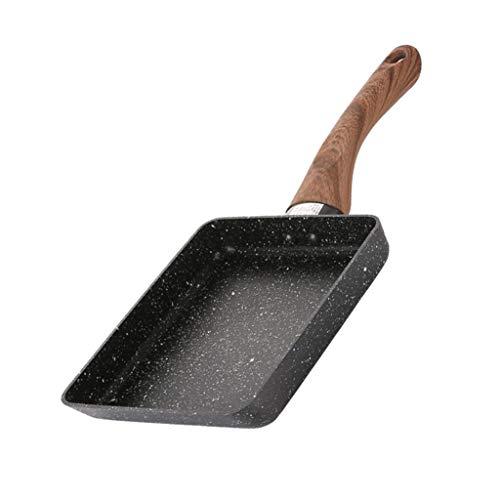 "Amuzocity Sartén Japonesa Gruesa Antiadherente para Desayuno Tamagoyaki Utensilios de Cocina Rectangular 5\""x7\"" - Negro"
