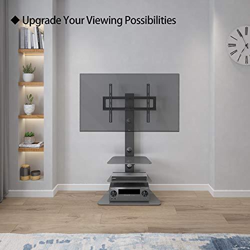 BONTEC Meuble TV Support TV Pied avec 3 Etagères Verre Trempé Télévision de 30 à 65 Pouce Pivotant pour Ecran Plasma/LCD/LED Hauteur Réglable Charge 40 kg Max. VESA 600x400 mm