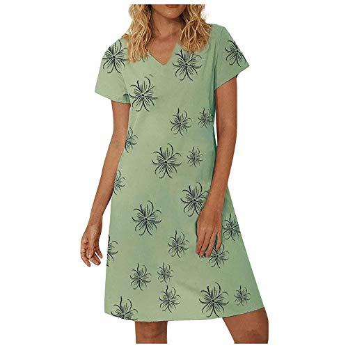 Vestidos Mujer Verano Vestidos de Playa de Verano Manga Corto s con Cuello en V Profundo Estampado Floral Vestido de Tirantes con Botones