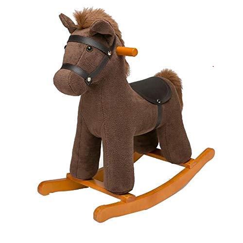 YUMEIGE Rocking Paarden Baby Rocking 23,6 × 11 × 23,6 inch Bruin, Roze, schommelende Zebra Rocking Chair Baby Speelgoed, schommelend Paard 1-6 Jaar Oude Verjaardag Present BRON