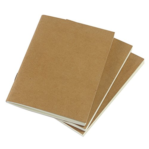 """(Set of 3) Blank Travelers Notebook Inserts 100gsm Total 192 Thick Unlined Sketch Pages, Passport Size 3.5""""x4.9"""""""
