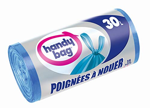 Handy Bag 15 Sacs Poubelle 30 L, Poignées à Nouer, Fermeture Hermétique, Anti-Fuites, 50 x 64 cmcm, Bleu, Opaque