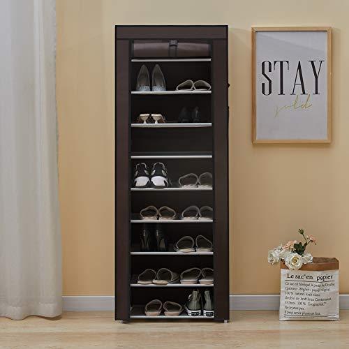 OFCASA Zapatero de Tela con Cubierta a Prueba de Polvo para Zapatos Organizador de 10 Niveles 27 Pares de armarios con Funda para Pasillo Muebles de hogar Marrón 60 x 30 x 160 cm