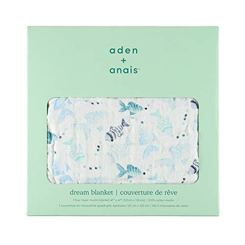 エイデンアンドアネイ クラッシックドリーム ベビー ブランケット 出産祝い おくるみ ギフト Aden+Anais Classic Dream Blanket (カラー:gone fishing ) [並行輸入品]