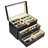 Kurtzy Caja Almacenamiento de Gafas - 3 Niveles 18 Compartimentos para 18 Gafas con Cierre y Llave - Pantalla Organizador con Ventana Transparente - Caja Negra para Guardar Gafas de Sol