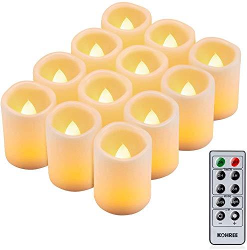 Kohree 12 LED Kerzen Flammenlose Teelichter mit Timer Fernbedienung Outdoor Batteriebetriebene Elektrische Flackern Kerzen für Muttertag Valentinstag Party Geburtstags, Warm weiß (Batterien Enthalten)