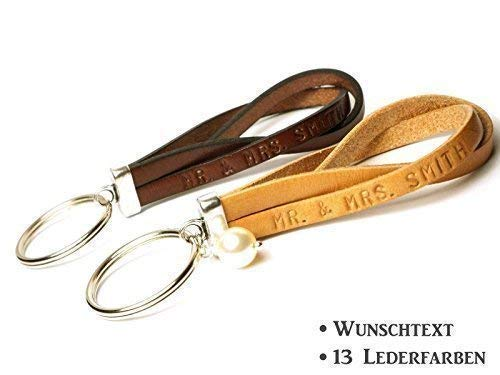 Partner Schlüsselanhänger Leder Art. 207 personalisiert mit Wunschtext