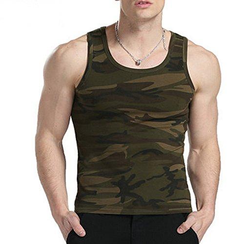Vert armée Uniformes de Camouflage Remise en Forme Gilet serré Talonnage Les Sports d'été pour Homme (M)
