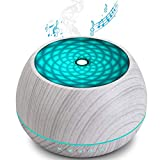 EOADUH Diffusore Musicale per Oli Essenziali, 1000ml Umidificatore Aromi ad Ultrasuoni con Altoparlante Bluetooth, LED a 7 Colori, Impostazione del Timer, Fino a 22 Ore di Utilizzo, Senza BPA,Bianca