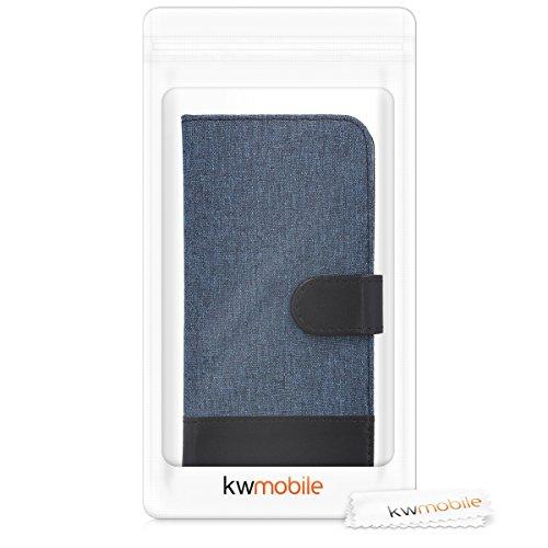 kwmobile Hülle kompatibel mit Huawei Y6 (2018) - Kunstleder Wallet Case mit Kartenfächern Stand in Dunkelblau Schwarz