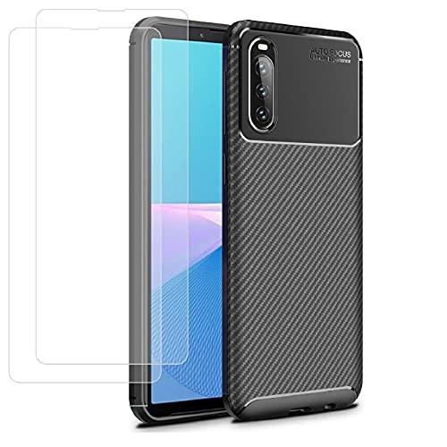 Young & Ming Compatible pour Coque Sony Xperia10III (2021) + 2 X Protecteur D'écran en Verre Trempé, Protection Complète Silicone Souple TPU Anti-Choc et Anti-Rayure Coque, Noir