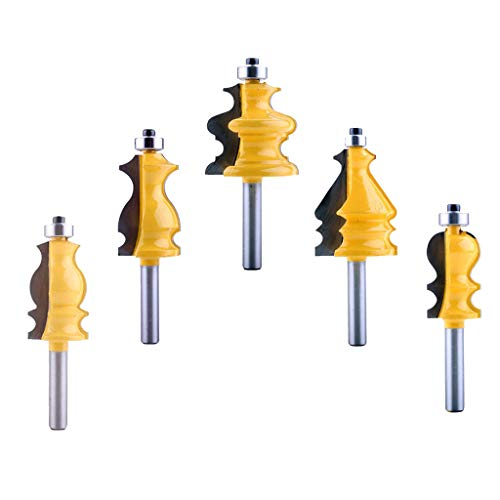 Fenteer 5pcs Fräser Kantenfräse Profilfräser Werkzeug für Spanplatten Schichtfurniere