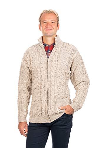 Cardigan irlandese per uomo 100% lana merino cerniera Aran Cable Knit cappotto con tasche - bianco - S
