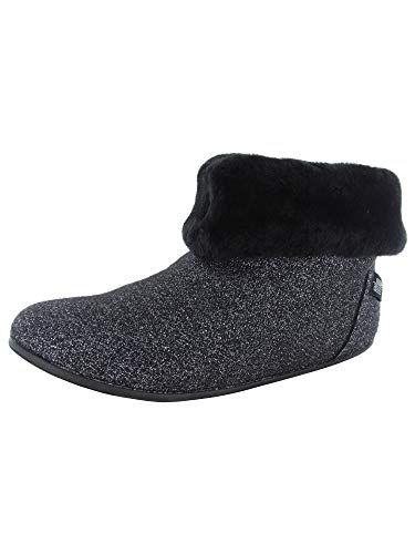FitFlop Womens Sarah Shearling Glimmer Slipper Shoes, Black, US 11