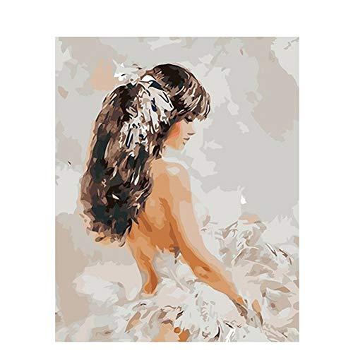 XSUHAN Pintura por Números Chica Bonita DIY Pintura por Números Kits Pintura Acrílica sobre Lienzo con Marco De 40X50 para Obras De Arte Niños