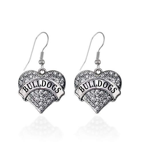 Inspired Silver - Bulldogs Charm Earrings for Women - Silver Pave Heart Charm French Hook Drop Earrings with Cubic Zirconia Jewelry