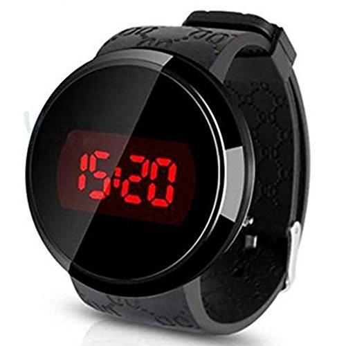 Hrsptudorc Reloj,Sunstone Moda Hombres LED tactil Pantalla Dia Fecha Silicona Pulsera Reloj Digital LED Reloj Touch Negro