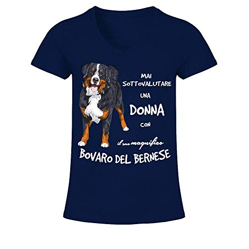 TEEZILY T-Shirt Collo a V Donna Mai Sottovalutare Una Donna con Il Suo Magnifico Bovaro del Bernese