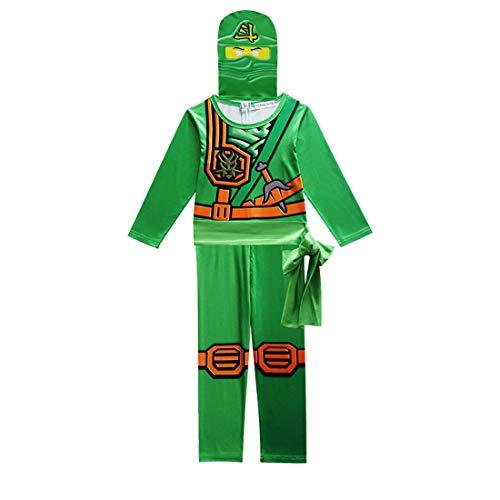 Thombase Disfraz de guerrero ninja para niños, disfraz de cosplay y fiesta con arma