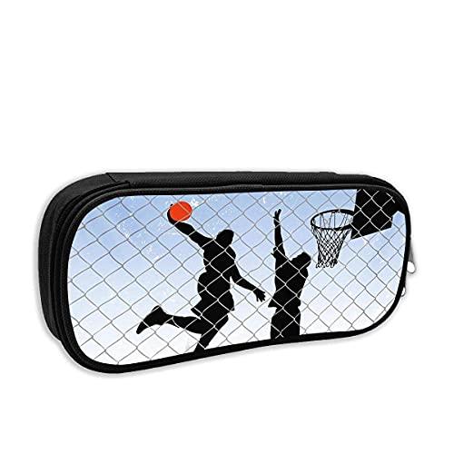 Bolsa de papelería con dise?o de baloncesto en la calle, para dos jugadores, multicolor, bolsa de cosméticos, estuche para bolígrafos con bolsa con cierre