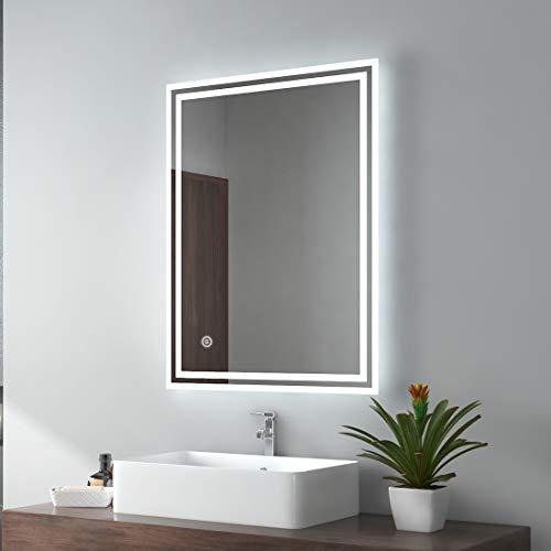 EMKE LED Badspiegel 50x70cm Badezimmerspiegel mit Beleuchtung kaltweiß Lichtspiegel Wandspiegel mit Touchschalter + Beschlagfrei