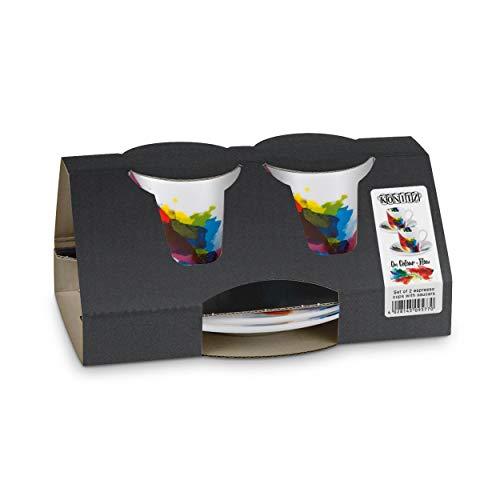 Könitz On Colour Flow Espresso Geschenkset, 4-tlg., 2 Espresso Tassen mit Untertasse, Porzellan, 85 ml, 11 5 054 1694