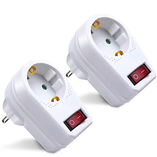 Extrastar Adaptador Enchufe con interruptor, 2 paquetes