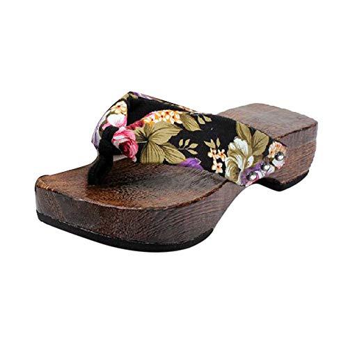 Sandal Donna Pantofole Donna Scarpe con Plateau estive Sandali in Legno Zoccoli Infradito in Legno (39,Nero)