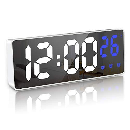 JQGO Reloj Despertador Digital, LED Pantalla Reloj Alarma Inteligente con Temperatura, Alimentado...