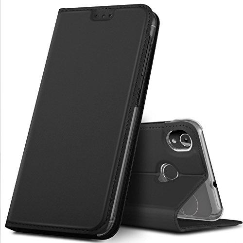 GeeMai Gigaset GS185 Hülle, Premium Gigaset GS185 Leder Hülle Flip Hülle Tasche Cover Hüllen mit Magnetverschluss [Standfunktion] Schutzhülle handyhüllen für Gigaset GS185 Smartphone, Schwarz