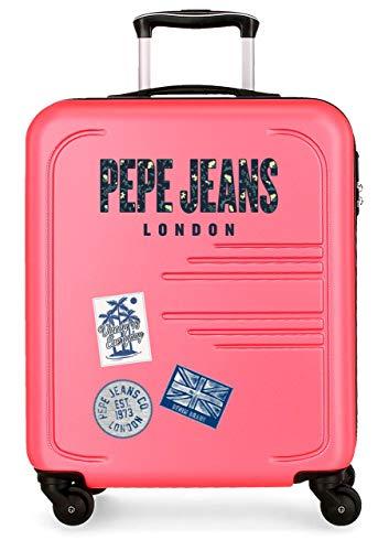 Pepe Jeans Edison Maleta de Cabina Rosa 39x55x20 cms Rígida ABS Cierre combinación 37L 2,7Kgs 4 Ruedas Equipaje de Mano