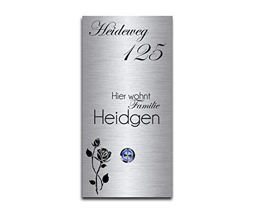 CHRISCK design - Edelstahl Türklingel mit Wunsch-Gravur Led-Beleuchtung und Motive 13x26 cm Klingel-Taster Namen Modell: Heidgen-P