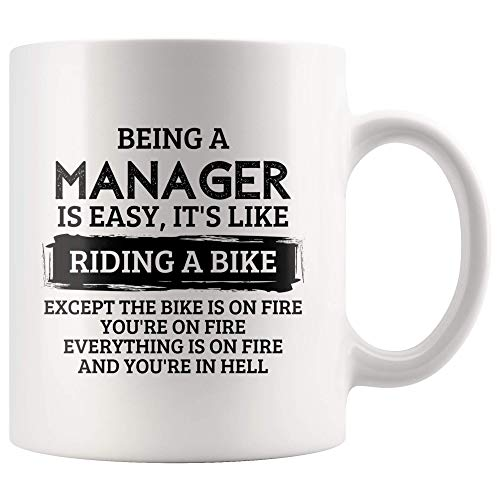 LAKILAN EIN Manager zu Sein ist einfach.Es ist,als würde Man mit dem Fahrrad Fahren.EIN lustiger sarkastischer Mitarbeiter im Büro.Boss Geschenk 11 Unzen Becher