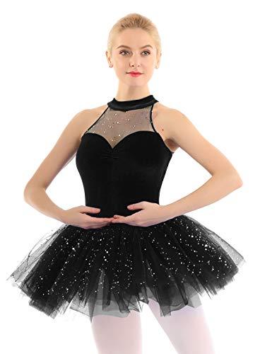iEFiEL elegant Damen Ballettkleid Glitzer Pailletten Ballett Tutu mit Samt Balletttrikot Ballettanzug Tanzkleid Wettbewerb Ballerinas Kostüm Schwarz Medium