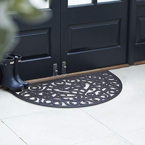 EHC Fußmatte aus Gummi in Schmiedeeisen-Optik, 45 x 75 cm, Anti-Rutsch, Halbmondform