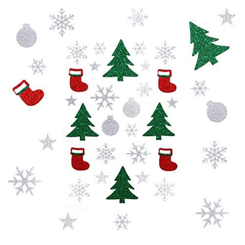 Kesote 135x Weihnachtssticker Glitzer Weihnachtsaufkleber Schneeflocke Aufkleber Stern Sticker für Weihnachten Geschenk Mitgebsel Deko