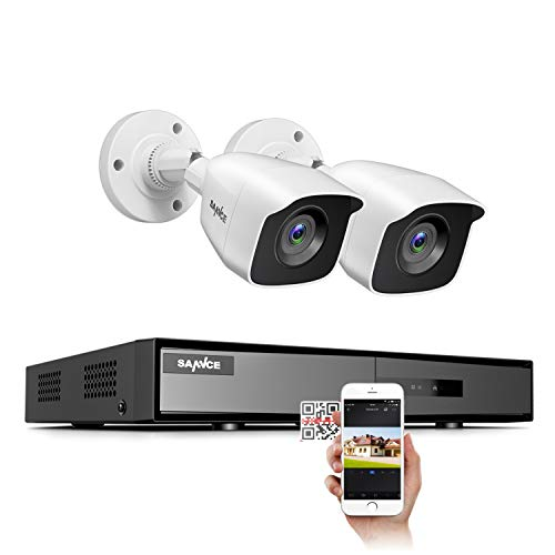 SANNCE Security Camera Systems 4CH 1080P Lite DVR and (2) 1080P Weatherproof CCTV Bullet Cameras, Indoor/Outdoor Weatherproof Cameras with 100ft EXIR Night Vision LEDs- NO HDD
