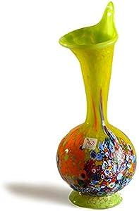 Jarrón de cristal de Murano amarillo con murrino, jarrón de cristal hecho a mano, jarrón alto, jarrón de vidrio soplado, idea de regalo, decoración del hogar, 100% marca de origen garantizada, Sun.