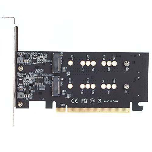 Sxhlseller Tarjeta de Expansión PCI Express 3.0 X16 Turn 2 Puertos M.2 NVME SSD, Tarjeta de Expansión de Disco Duro M.2, Compatible con 2230 2242 2260 2280 M.2 SSD, para Computadoras de Escritorio PC