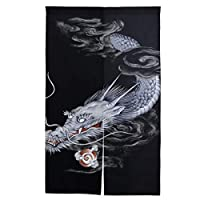 FengJu のれん 目隠し 間仕切り ロング 暖簾 遮光 断熱 カーテン 綿麻 玄関 キッチン 台所 着替え室 リビング 居酒屋 飲食店 和風 おしゃれ かわいい 出入り口 幅89cm丈136cm Japanese Dragon ドラゴン 龍