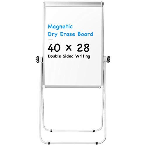Stand White Board - 40x28 Magnetic Dry Erase Board Flipchart Board Double Sided Easel Board Portable Whiteboard Silver