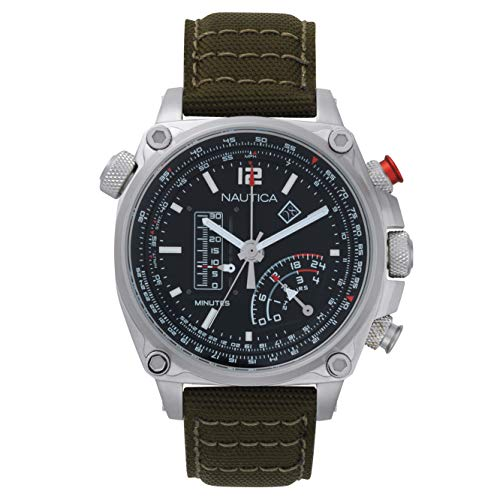 Nautica Unisex Erwachsene Quarz Uhr mit Nylon Armband NAPMLR001