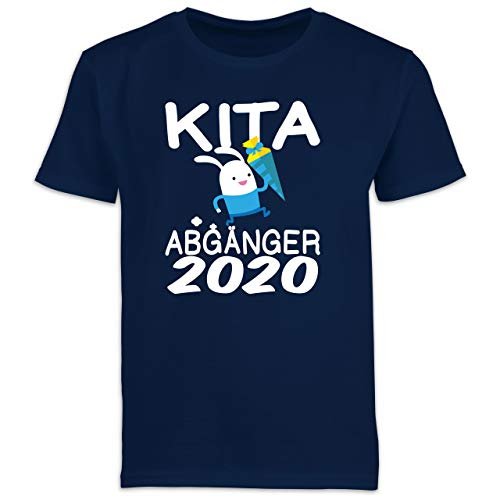 Einschulung und Schulanfang - Kita Abgänger 2020 rennender Hase mit Schultüte - 128 (7/8 Jahre) - Navy Blau - Kinder t-Shirt mit hase - F130K Schulanfang - Schulanfang Jungen T-Shirt Kinder