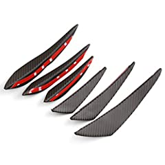 "Comes with 6 pieces of black matte finish dry ""carbon fiber"" look front bumper canard body diffuser fins Good for front bumper adding lip splitter fins for a unique and sporty look Rubber material.Durable, rigid design, plus allows you to paint the f..."