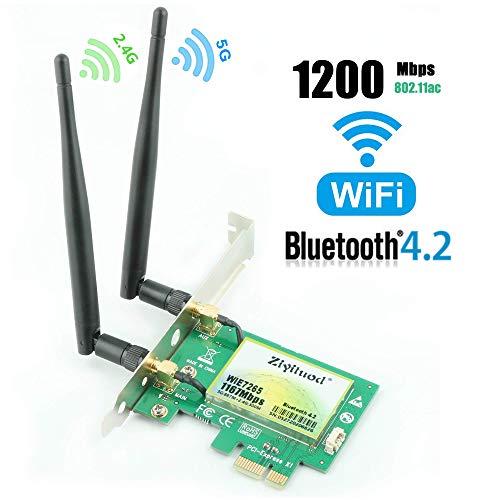 Ziyituod AC1200Mbps Bluetooth4.2 PCIe WLAN Karte, Dual-Band Netzwerk Karte (5 GHz 867 Mbit/s oder 2.4 GHz 300 Mbit/s), Intel Wireless ac 7265 WiFi-Adapterkarte für Desktop-PC(ZYT-WIE7265)